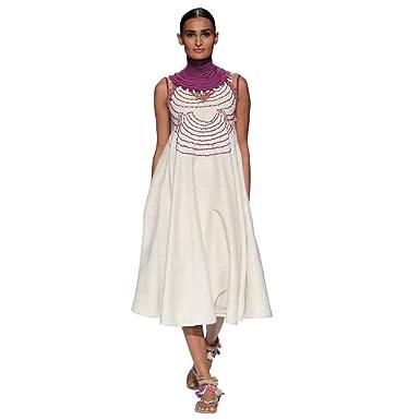 ebb828d04d1d4 Handwoven Jharkhand Woven designer Tassar Silk Dress Ivory White by ...