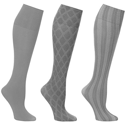 Women's Wide Calf Solid and Patterned Trouser Socks Set of 3 - Grey ()