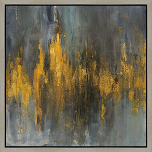 Green Leaf Art 36x36 Black and Gold Abstract Framed Canvas Art, Large, Gray by Green Leaf Art