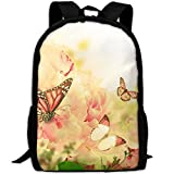 CY-STORE Butterflies Monarch Butterfly Animals Print Custom Casual School Bag Backpack Travel Daypack Gifts