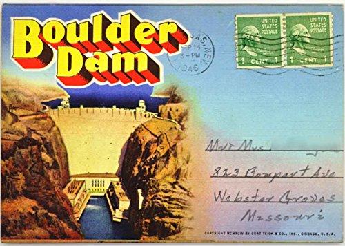 Boulder Dam Nevada - Arizona (1944 Souvenir Postcard Folder) #D-6763