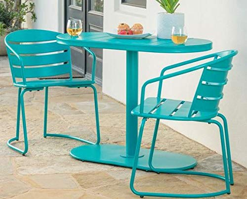Luca Outdoor- Sunroom Furniture- Out Door Patio Furniture- Matte Teal Iron Three Piece Oval Set - Great for Summer Barbecues, Garden Parties, and Afternoons Spent Lounging