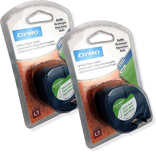 DYMO 10697 LT Tape Cartridge for Dymo LetraTag Label Makers, 1/2-Inch x 13 Feet, Black on White, Blister of 2 Cartridges, Pack of 2 Blisters