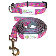 Dog Collar and Leash Matching SET for Small Dogs - Beautiful Woven Designs Over Durable Nylon Material. Stylish Leash And Collar For Small And Medium Size Dogs - 6 Feet Long Dog Leash For Added Comfort And Control - Guaranteed To Last