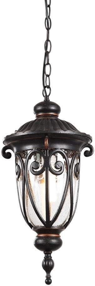 Ailtb Impermeable pendiente de la luz Europeo metal de aluminio al aire libre de la vendimia retro Altura techo ajustable Lámpara colgante de jardín Pabellón Pergola Gazebo iluminación de la lámpara E:
