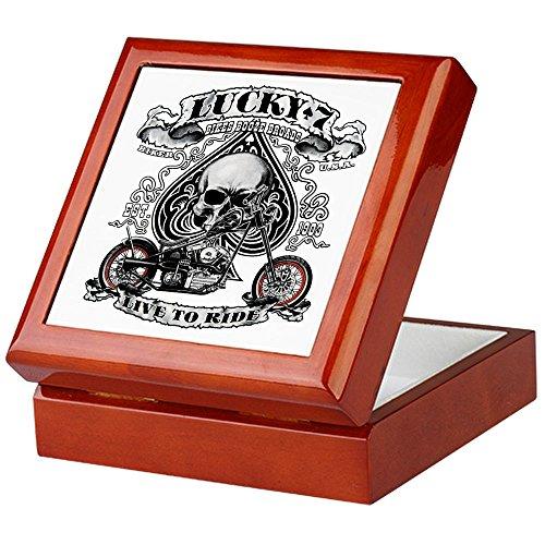 Keepsake Box Mahogany Lucky 7 Bikes Live To Ride Skull