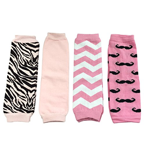 ALLYDREW 4 Pack Baby Leg Warmer Set & Toddler Leg Warmer Set for Boys & Girls - Zebra Stripes, Solid Pink, Pink Chevron & Pink Mustache