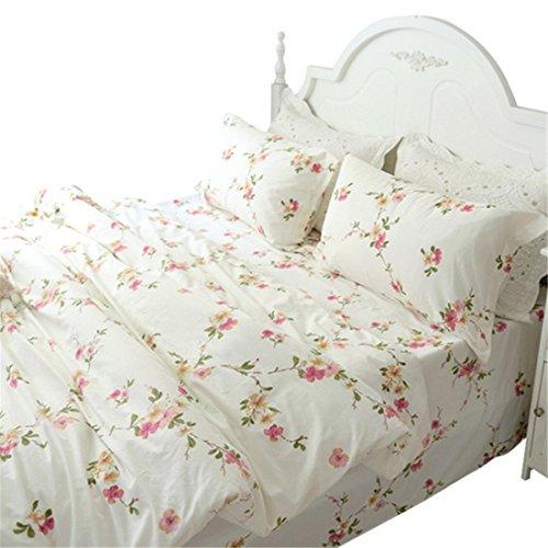 Lotus Karen Pastoral Shabby Floral Korean Bedding Sets100% Cotton 4PC Pink Flowers Girls Bedding,1Duvet Cover,1Flat Sheet,2Pillowcases,King Queen Full Twin Size price tips cheap