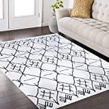 Mod-Arte | Fez Collection | Area Rug | Moroccan Inspired Style | White Charcoal | 5'2″ x 7'2″