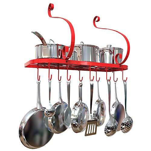Pot Rack Wall Mounted, Pot Pan Hanging Rack Made by Iron Material And With Spray Painting Process Finished, Including 10 moveable hanging hooks. (Red) by GeekDigg