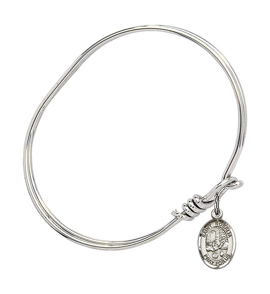 Rosalia Charm On A Child Sized 5 3//4 Inch Oval Eye Hook Bangle Bracelet St