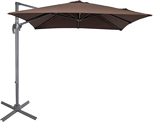 Sundale Outdoor 8.2ft Square Offset Hanging Umbrella Market Patio Umbrella Aluminum Cantilever Pole with Crank Lift, Corss Frame, Polyester Canopy, 360 Rotation, for Garden, Deck, Backyard Coffee