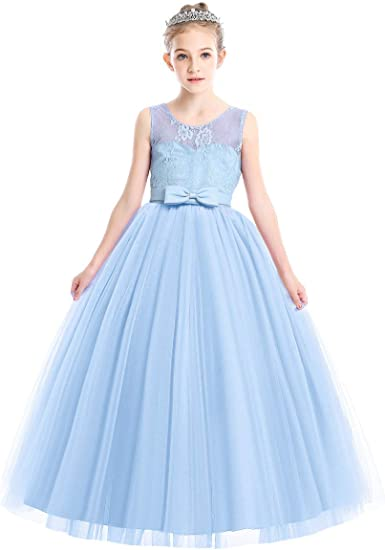 Kids Flower Girls Floral Dress Up Princess Party Wedding Bridesmaid Prom Bowknot