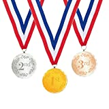 gymnastics gold medal - 3 Pack Award Medals - Sports Medals Olympic Style Winner Medals 1st, 2nd, 3rd Place Crystal Medals for Sports, Competitions, Spelling Bees, Gold, Silver, Bronze, 2.7 Inch Diameter with 31-Inch Ribbon