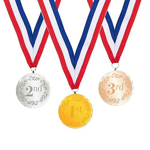 3 Pack Award Medals - Sports Medals Olympic Style Winner Medals 1st, 2nd, 3rd Place Crystal Medals for Sports, Competitions, Spelling Bees, Gold, Silver, Bronze, 2.7 Inch Diameter with 31-Inch Ribbon Basketball Wreath Award