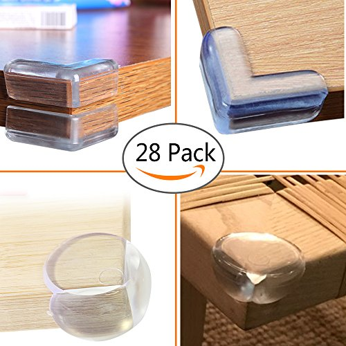 Safety Corner Guards Soft Edge Protectors,Baby Kids Proofing Pre-applied 3M Tape Furniture for Table Bed Chair Sofa(28 (Proof Ex Set)
