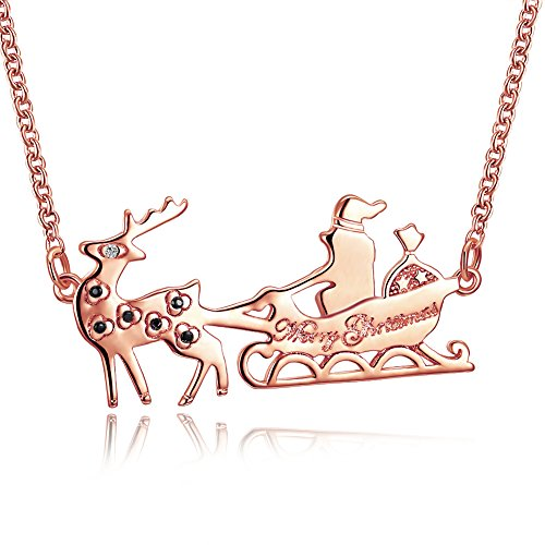 18K Rose Gold Plated Santa Claus's Sleigh Reindeer statement clavicle Pendant Christmas Princess Cute Crystal Zircon Necklace,for Xmas Gift Women Necklace (Sleigh Base)