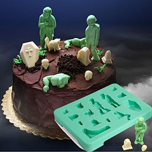 Cat Silicone Mold Halloween Zombie Creative Chocolate Mould Cake Ice Lattice Mold Zombie Tomb Skeleton Mold Silicone Cat Halloween Mold]()