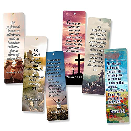 Service Prayer Card - Christian Bookmarks Cards with Popular Inspirational Bible Verses - 6 Unique Designs (Pack of 60) - Bible Scripture Prayer Cards - War Room Décor