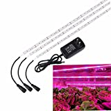 Plant Light, SOLMORE 3Pcs 1.6ft/strip LED Plant Light Grow Strip Light Flexible Soft Strip Light with 2A Power Adapter for Aquarium Greenhouse Hydroponics Indoor Plant Vegetable Flower Seeds Growth