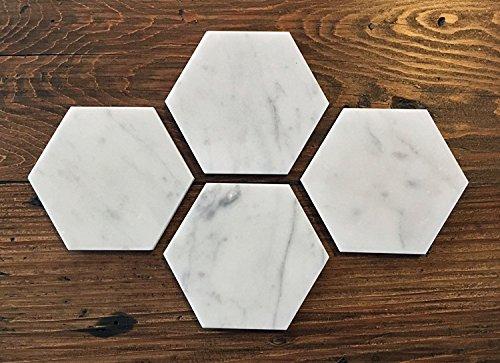 Carrara White Marble Hexagon Coasters 4
