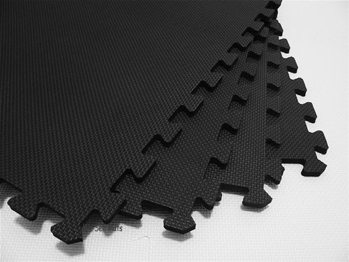168 Square Feet ( 42 tiles + borders) 'We Sell Mats' Black 2' x 2' x 3/8'' Anti-Fatigue Interlocking EVA Foam Exercise Gym Flooring by We Sell Mats