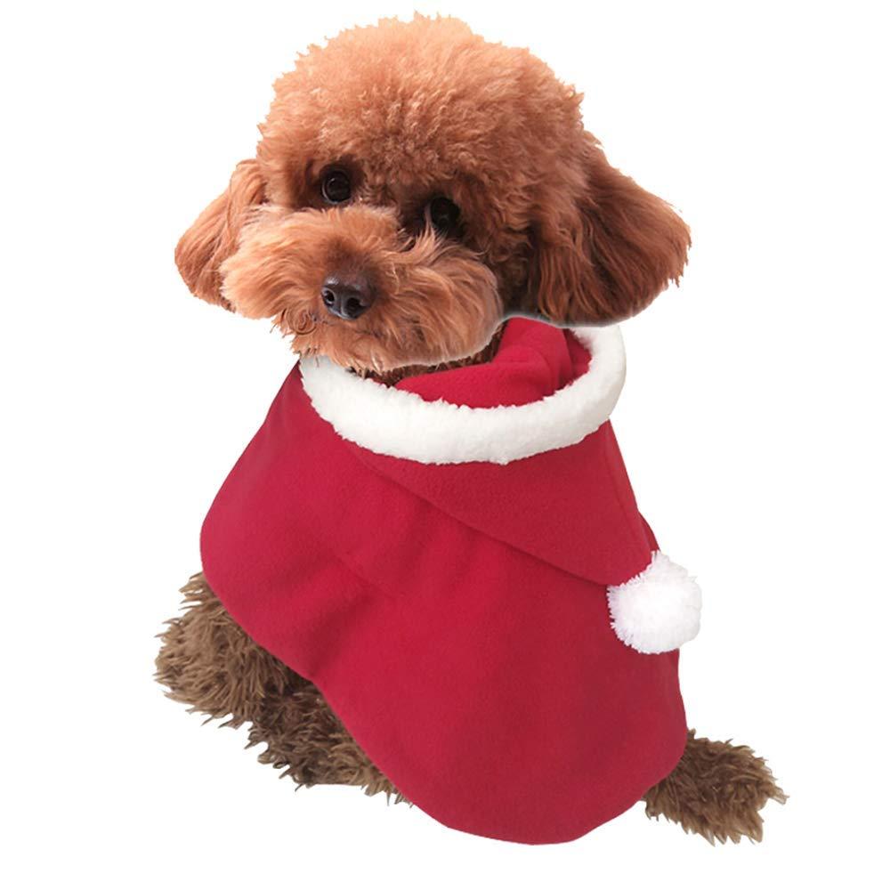 M boxod Pet Christmas Costume Poncho Cape Hat Santa Claus Cloak Cats Dogs Red (M)