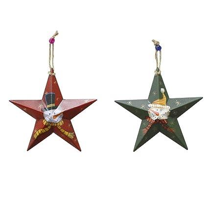 Amazoncom Metal Star Barn Christmas Tree Ornaments 3d Star Barn