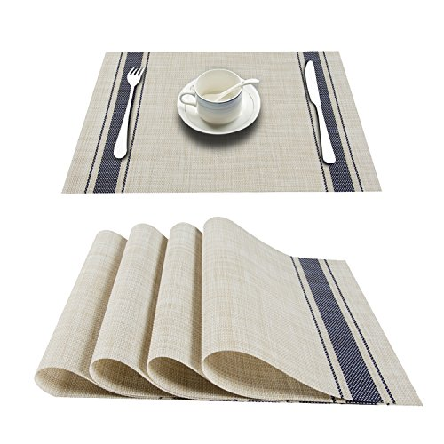 Top Finel Placemat Set Dining Table Vinyl Crossweave Non-Slip Washable Outdoor,NavyStripe,Set of 8