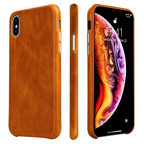 Latest iPhone Xs Max Case Leather TOOVREN Protective iPhone Xs Max Case Genuine Leather Ultra Slim Vintage Designer Shell Back Cover for Apple iPhone Xs Max 6.5'' (2018) Brown