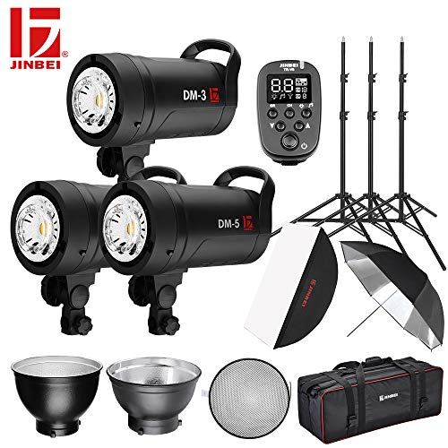 JINBEI DM-3/5 Flash Kit 1300W 2500W Studio Flash Strobe Light 2.4G Wireless with LED Modeling Lamp Bowens Mount Wide Voltage Global Use with Softbox Reflector Light Stand Bag ()