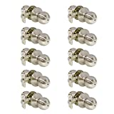 Probrico 10 Pcs Stainless Steel Privacy Door Knob Handles Keyless Round Door Lockset for Bed/ Bath No Key Brushed Nickel