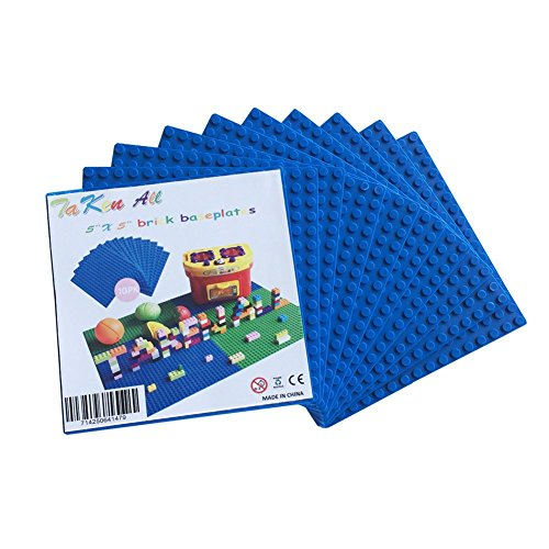 Building Bricks Block Base Plates - Blue 10 Pack of 5 x 5 Baseplates Tight Fit with All Major Brands