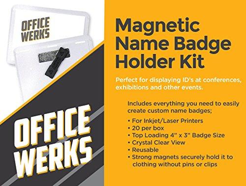 Magnetic Name Badge Holder Kit, 4