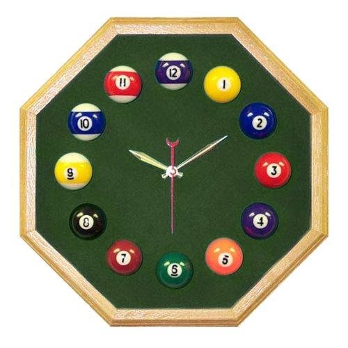 Trademark Octagon Oak Billiard Clock With Dark Green Mali Felt - Irregular Octagon
