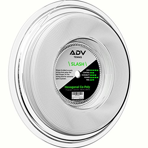 ADV Slash Tennis String - Hexagon Shaped for Max Grip - 17g (660 ft Reel, White)
