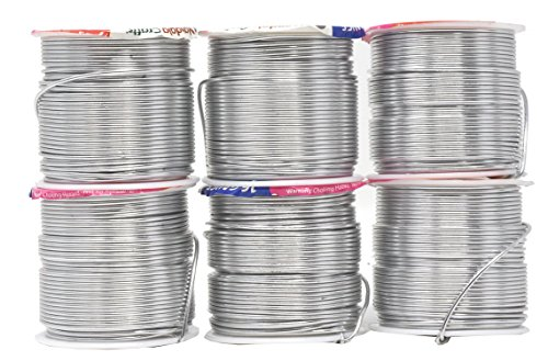 Mandala Crafts Anodized Aluminum Wire for Sculpting, Armature, Jewelry Making, Gem Metal Wrap, Garden, Colored and Soft, Assorted 6 Rolls (16 Gauge, Combo -