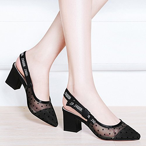 Heels Sandals HUAIHAIZ Sandals shoes evening heeled yarn female Pumps Shoes net Black Court high High YwOxrOqUt5