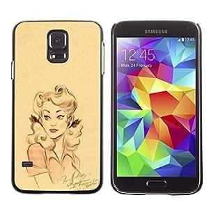 Be Good Phone Accessory // Dura Cáscara cubierta Protectora Caso Carcasa Funda de Protección para Samsung Galaxy S5 SM-G900 // retro woman pink yellow girl lips pin up