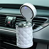 Auto Car Ashtray Portable with Blue LED Light Lighter Ashtray Smokeless Smoking Stand Cylinder Cup Holder (White)