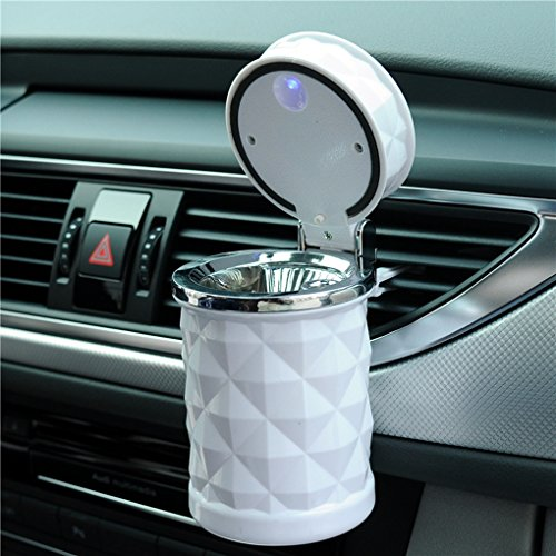 Vurtne Auto Car Ashtray Portable with Blue LED Light Lighter Ashtray Smokeless Smoking Stand Cylinder Cup Holder (White)