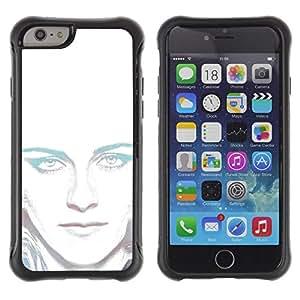 Suave TPU Caso Carcasa de Caucho Funda para Apple Iphone 6 PLUS 5.5 / Portrait White Light Woman Alien Green Eyes / STRONG