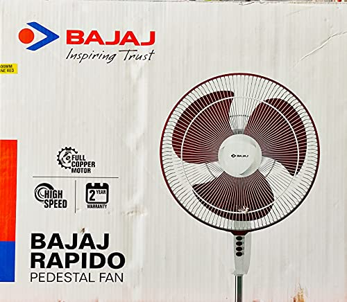 Bajaj Rapido 400 mm Pedestal Fan, Wine Red, With Full Copper Motor and High Speed Operation