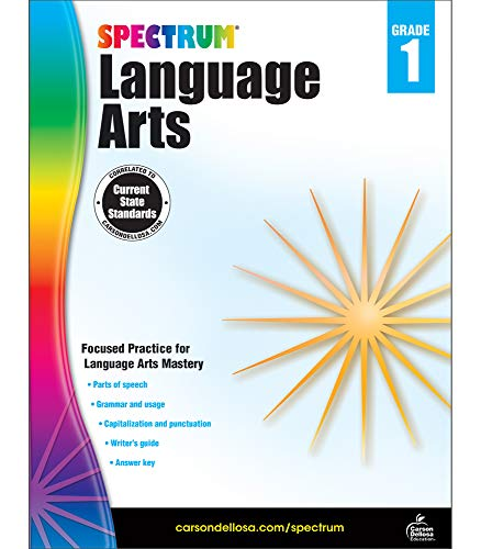 Carson Dellosa - Spectrum Language Arts, Focused Practice for Language Arts Mastery for 1st Grade, 128 Pages, Ages 6-7 with Answer Key