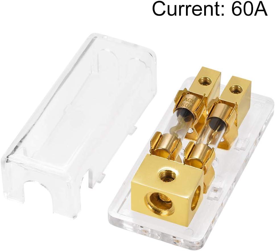sourcing map 4//8 AWG AGU 1 in 2 Sicherungshalter Verteilerblock mit 60A AGU Sicherungen