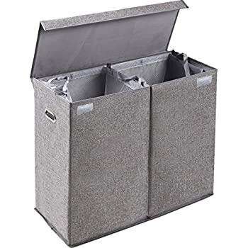 Amazon.com: Dirty Clothes Hamper Lid, Large Double Laundry Hamper Sorter 2 Section Removable
