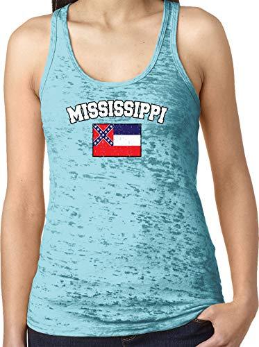 Amdesco Ladies Mississippi State Flag Burnout Racerback Tank Top, Tahiti Blue - Tank Confederate Flag