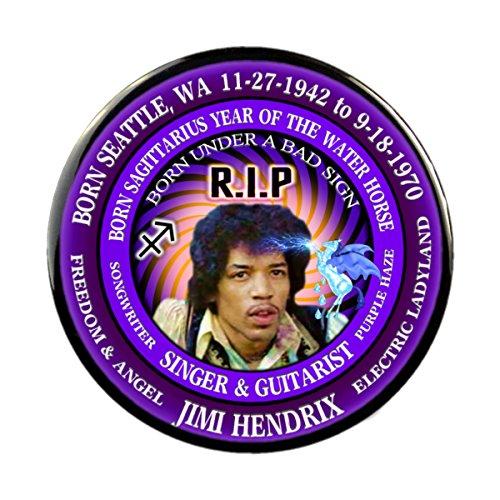 Jimi Hendrix RIP Pin, Born Astrology Sagittarius Zodiac Water Horse (2.25