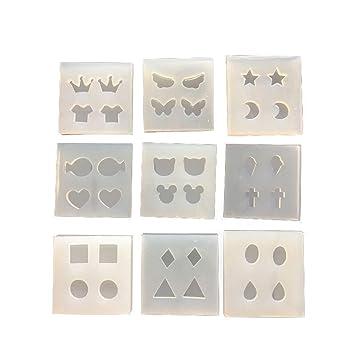 yalulu 9 Multi Mini de molde de silicona para hacer joyas pendientes colgante DIY molde moldes de pescar de pulseras de resina epoxi: Amazon.es: Hogar