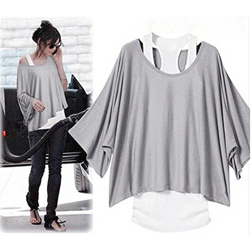 Lisingtool Women's Two-Piece Pullover Batwing Sleeve Loose T-Shirt and Tank Top Blouse (XX-Large, Gray)